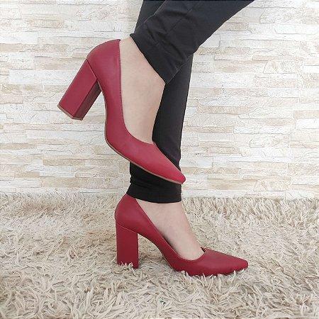 Scarpin Vermelho Salto Alto Grosso 9 cm