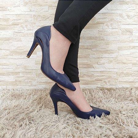 Scarpin Azul Desenhado Salto Alto Fino  9 cm