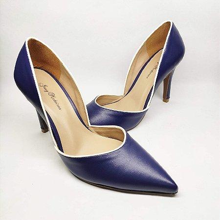 Scarpin Azul com Recorte Salto Alto Fino 9 cm