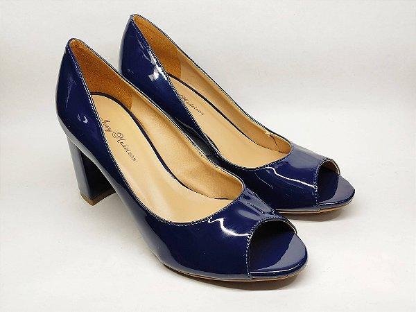 Peep Toe Azul Verniz Salto Alto Grosso 8 cm