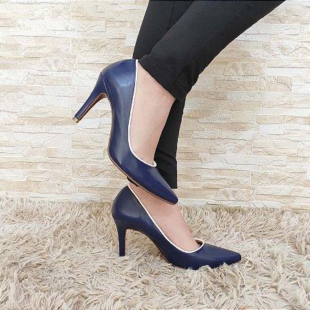 Sandália Azul com Contorno Branco Salto Alto Fino 9 cm