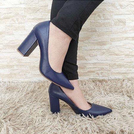 Scarpin Azul Salto Alto Grosso 9 cm