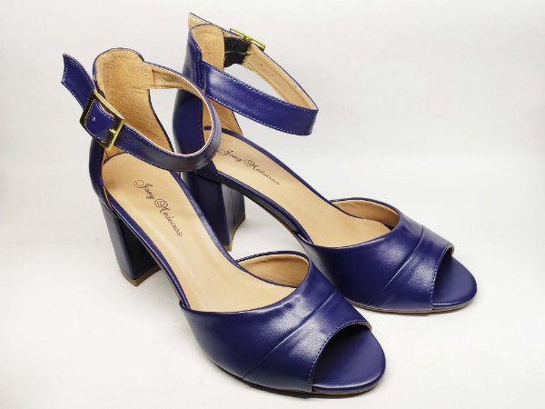 Sandália Azul Salto Grosso 7 cm