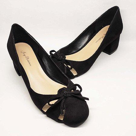 Sapato Boneca Preto com Laço Nobuck Salto Grosso 5 cm