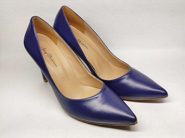 Scarpin Azul Clássico Salto Alto Fino 9 cm