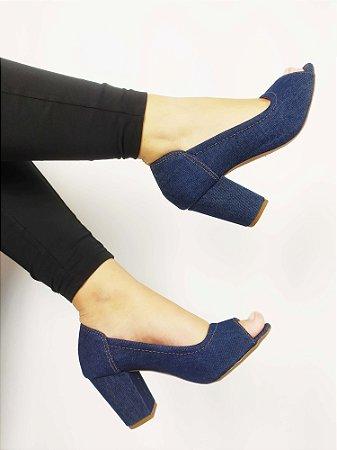 Salto Peep Toe 7 cm Clássico Jeans