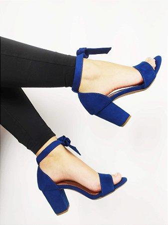 Sandália Suede Azul Salto 7 cm c/ Amarração