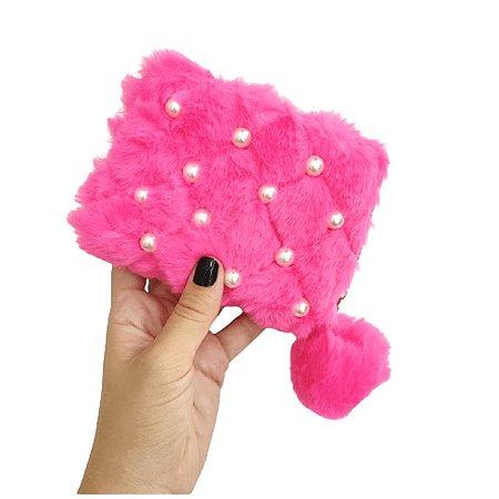 Carteira Pink de Pelinho com Pérola e Pompom