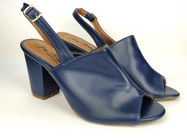 Sandália Aberta Azul Marinho Salto 8 cm Chanel