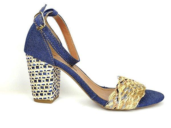 Sandália Jeans com Tramado Salto 7 cm