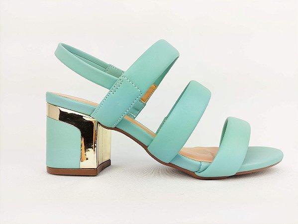 Sandália Azul Salto Ouro Bloco 7 cm