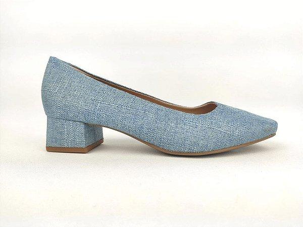 Scarpin Básico Jeans Claro Salto 4 cm