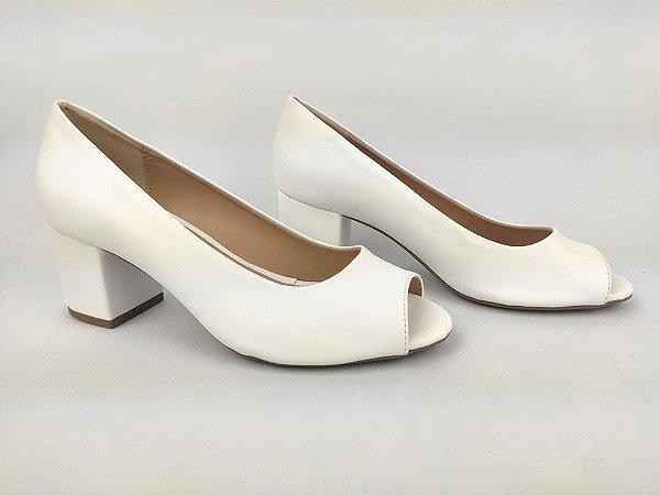 Peep Toe Clássico Branco Salto Bloco 6 cm