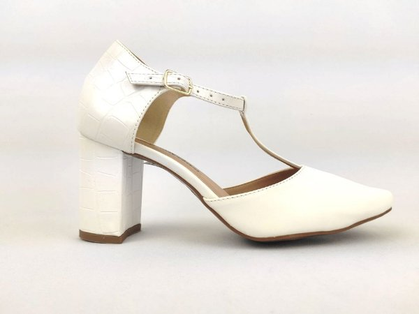 Sandália Scarpin Branca com Textura Salto 8 cm
