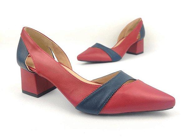 Scarpin com Recorte Vermelho com Azul Salto Bloco 5 cm