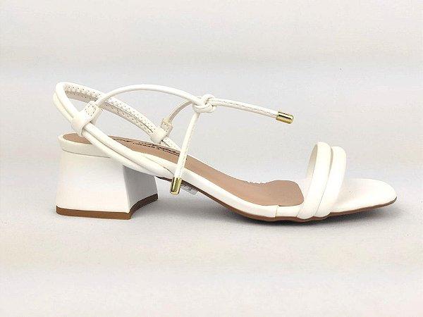 Sandália Tira Fina Luxo Branca Salto Flare 5 cm
