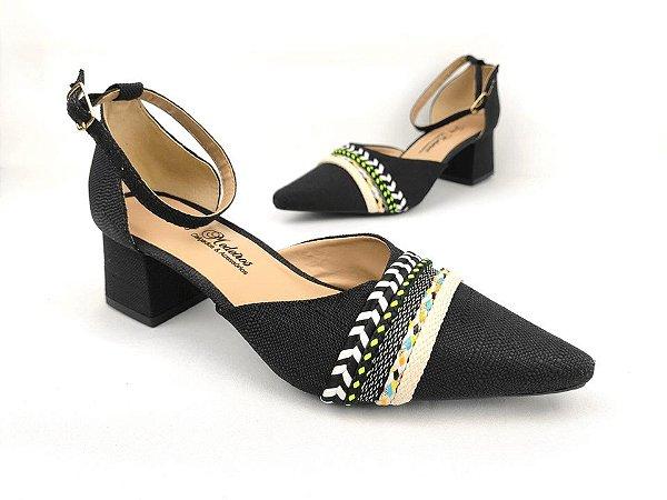Sandália Scarpin Têxtil Preta com Cordões Salto Bloco 6 cm