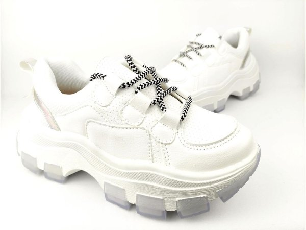 Tênis Chunky Sneaker Branco com Prata Solado Branco 6 cm