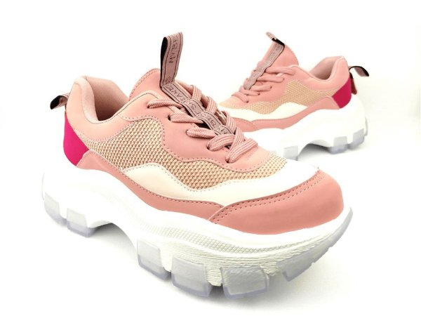 Tênis Chunky Sneaker Tons de Rosa e Rosê Solado Branco 6 cm