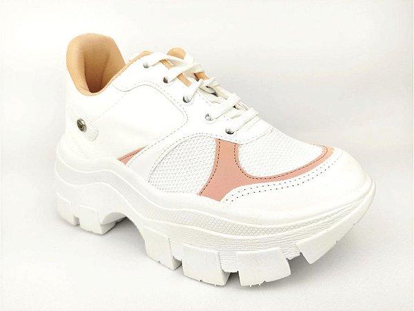 Tênis Chunky Sneaker Branco com Rosê Solado Branco 6 cm