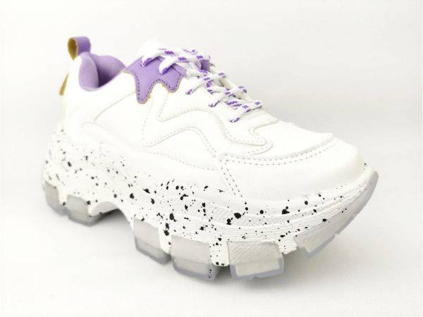 Tênis Chunky Sneaker Branco com Lilás Solado Decorado 6 cm