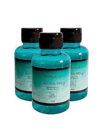 Kit 3 Álcool Gel com Aloe - PROTEJA-SE
