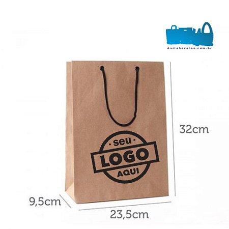 100 Sacolas de Papel Alça Cordão 23,5x32x9,5cm