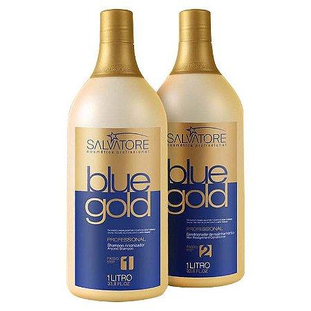 Salvatore Blue Gold Escova Progressiva 2x1000ml - Fab Salvatore Cosmeticos