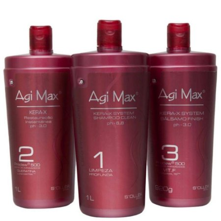 KIT ESCOVA PROGRESSIVA AGI MAX RED KERA-X - 3 x1L