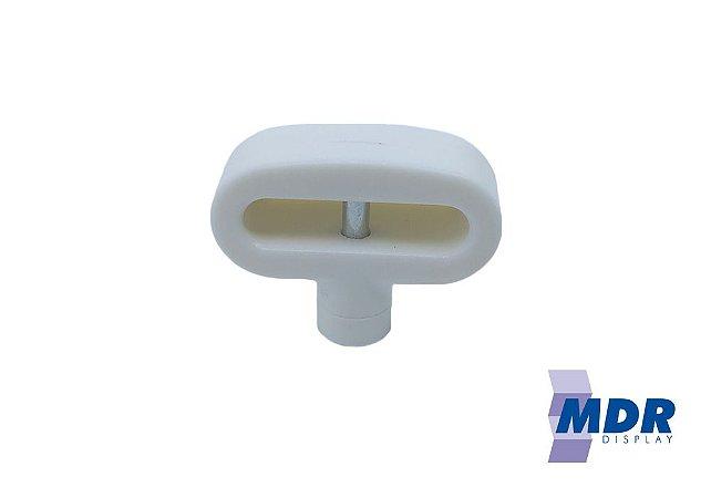 Trava Antifurto Para Gancho Duplo (Expositores) na cor Branca / Kit com 10 unidades + 1 Chave Magnética