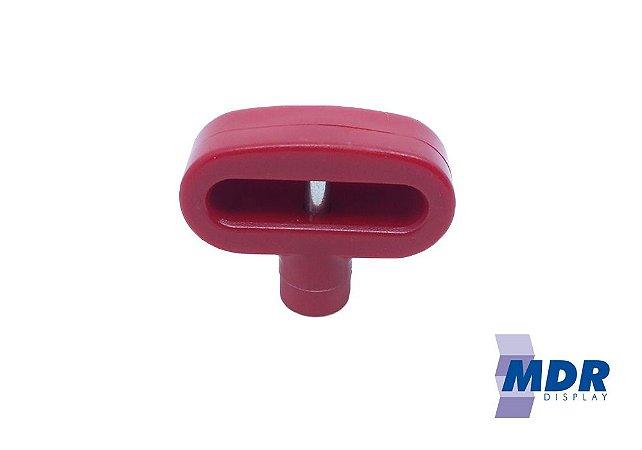 Trava Antifurto Para Gancho Duplo (Expositores) na cor Vermelha / Kit com 50 unidades + 1 Chave Magnética