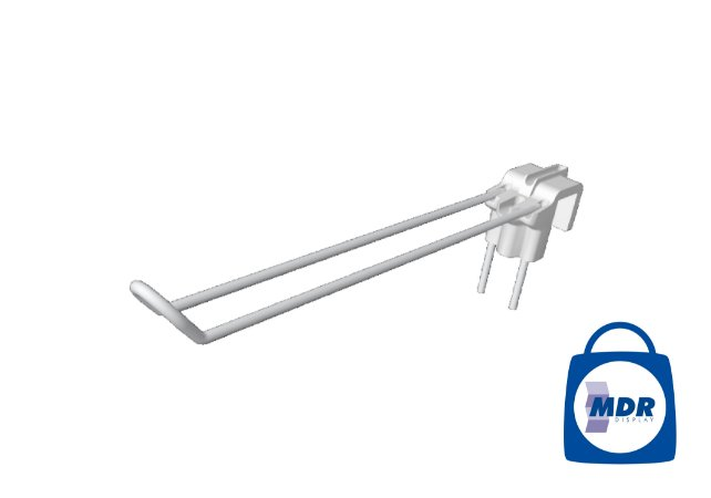 Gancho Duplo para Régua com Encaixe Plástico / Kit com 50 unidades