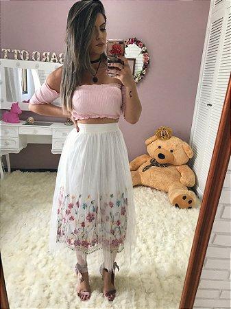 Saia Tule Rosas Branca