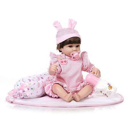 Bebê Reborn Emilly com Travesseiro e Mantinha 40cm