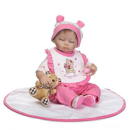 Bebê Reborn Rafaela com Ursinho e Mantinha