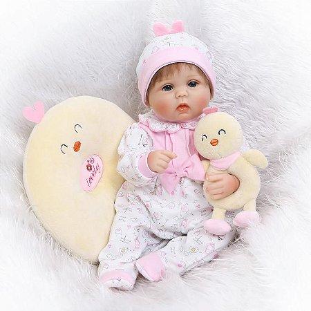 Bebê Reborn Lauany com Travesseiro e Ursinho