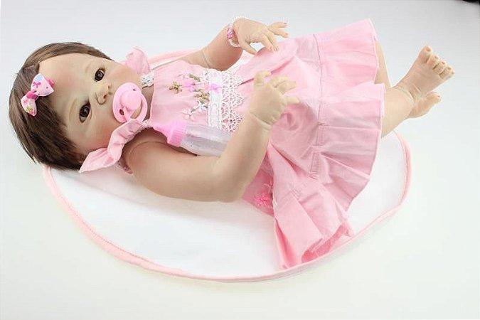 Bebê Reborn Laura Toda Em Silicone Pode Dar Banho 58cm