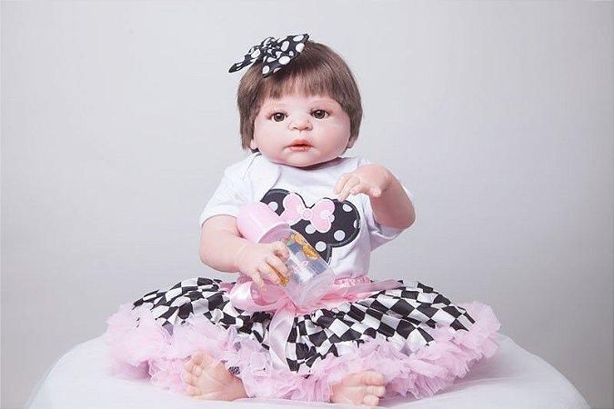 Bebê Reborn Inteira em Silicone Ana Miney Mouse 55cm