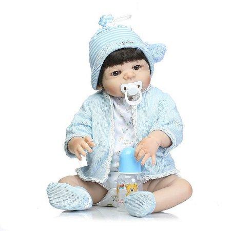 Bebê Reborn Renan Todo em Silicone com Cabelo Liso com 55cm