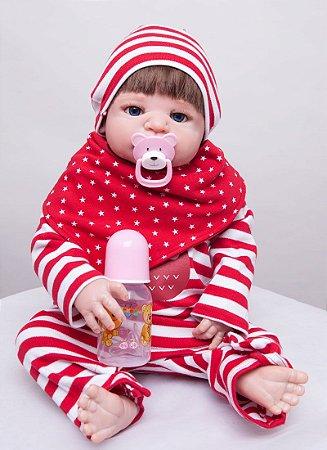 Bebê Reborn de Silicone Sofia com Roupinha Listrada