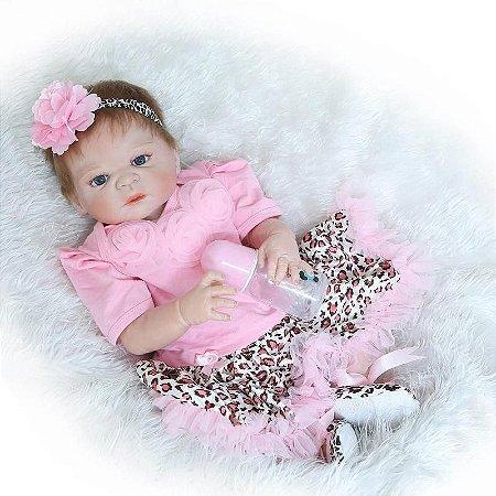 Bebê Reborn Lorena em Silicone com Bochechas Rosadas