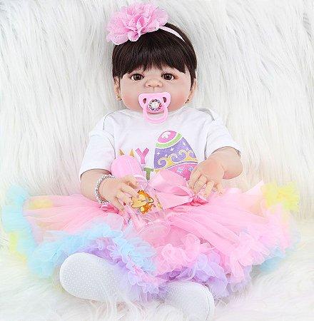 Bebê de Silicone Reborn Yasmin com Brincos e Vestido