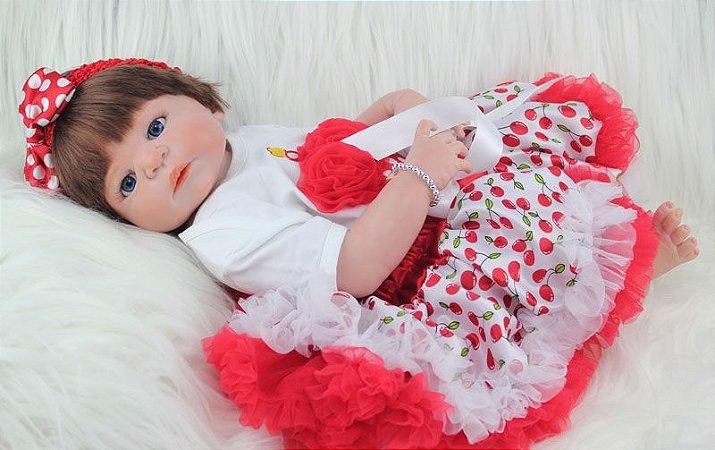 Bebê Reborn Shirley de Vestido Vermelho em Silicone 55cm