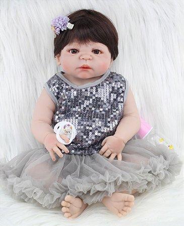 Bebê Reborn Sophia em Silicone e Vestido Brilhante 55cm