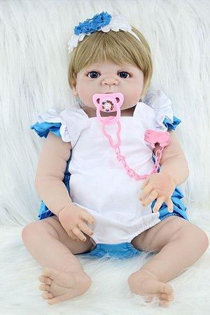 Bebê Reborn Rosana Corpo em Silicone com Olhos Azuis