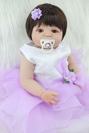 Princesa Reborn Bebê Karine Toda em Silicone com Vestido