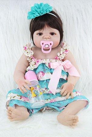Bebê Reborn Tiffany de Corpo Inteiro em Silicone