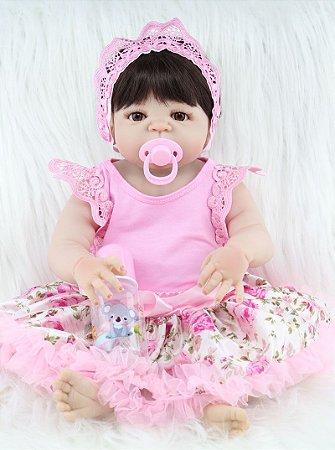 Bebê Reborn Hortênsia 55cm de Vestidinho Florido