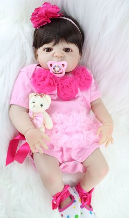 Bebê Reborn Samila de Roupinha Rosa com Flores