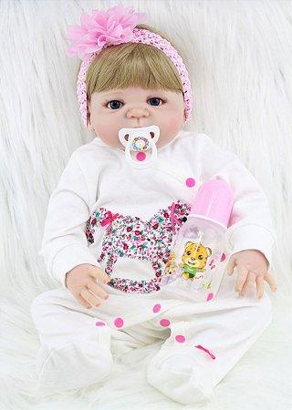 Bebê Reborn Chloe Loirinha com Laço Rosa Toda em Silicone